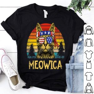 Vintage Meowica 4th Of July Retro Cat Patriotic Gift Shirt
