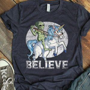 Alien Riding Unicorn Believe UFO Boys shirt
