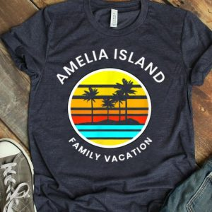 Amelia Island Florida Family Vacation Sunset Palm Trees shirt