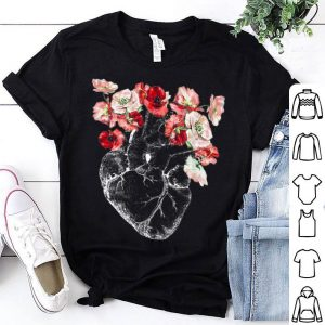 Anatomical Heart And Flowers shirt
