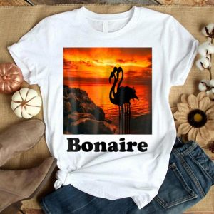 Beautiful Bonaire Island Flamingos In The Sunset shirt