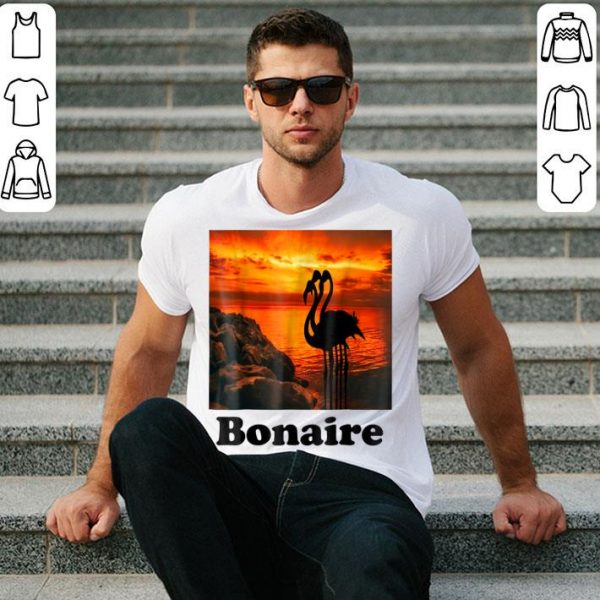 Beautiful Bonaire Island Flamingos In The Sunset shirt