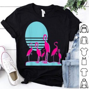 Flamingos Aesthetic Vaporwave Retro 1980s Sunset Sundown shirt
