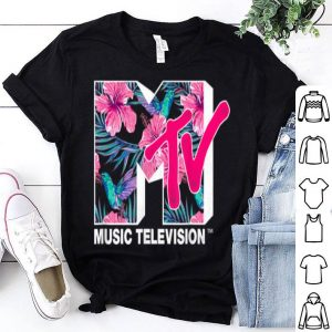 Mtv Hummingbird And Tropical Flower Logo Fill Graphic shirt