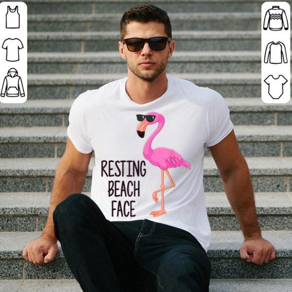 Resting Beach Face Pink Flamingo With Sunglassess shirt