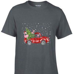 Aweome Flamingo Truck Christmas Tree shirt