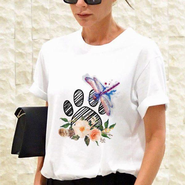 Awesome Dragonfly Paw Dog Flower shirt