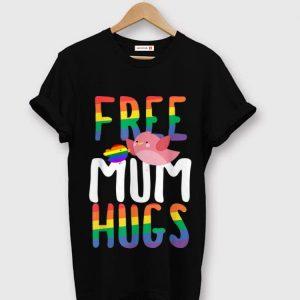 Hot Free Mum Hugs LGBT Gay Pride Rainbow Bird Flag shirt