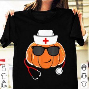 Original Funny Pumpkin Face Wear Glasses Stethoscope Nurse Halloween shirt
