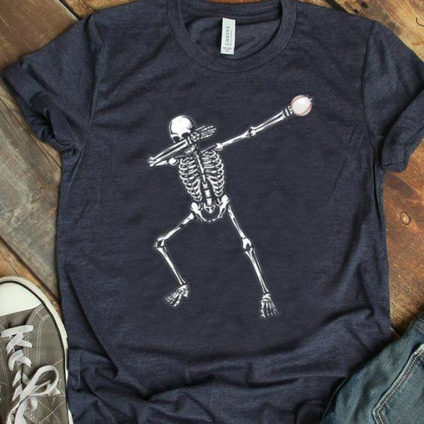 Original Halloween Dabbing Skeleton Baseball For Lover Kids shirt