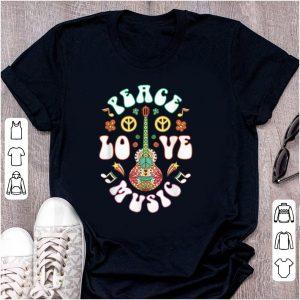 Original Peace Love Music Guitar Hippies Retro shirt
