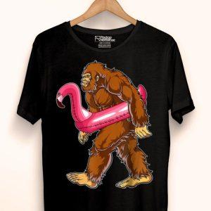 Pool Party Bigfoot Flamingo Sasquatch Pink Float shirt