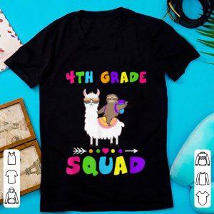 Pretty Team 4th Grade Squad 1st Day of School Sloth Llama shirt