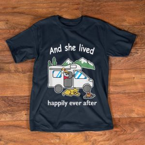 Awesome And she lived happily ever after Camping Dog shirt