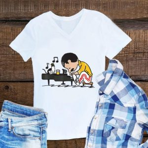 Awesome Freddie Mercury Playing Piano And Cat shirt
