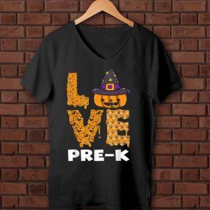 Awesome Halloween Pre-k Hat Witch Pumpkin Teacher shirt