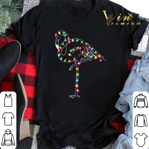Flamingo Christmas lights shirt sweater