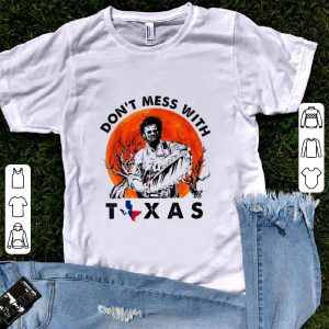 Funny Leatherface Don't Mess With Vintage Texas Halloween Sunset shirt