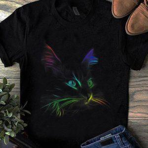 Hot Black Cat Face Graphic Color shirt