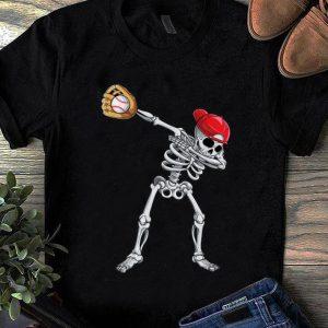 Hot Dabbing Skeleton Baseball Halloween Boys Kids Men shirt