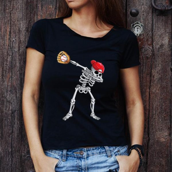 Hot Dabbing Skeleton Baseball Halloween Boys Kids Men shirt