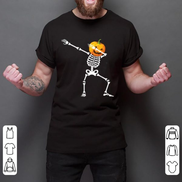 Hot Funny Dabbing Skeleton Pumpkin Halloween For Kids Boys shirt