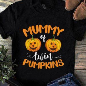 Hot Mummy of Twin Pumpkins Funny twin mom Halloween shirt