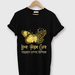 Original Gold Ribbon Butterfly Love Hope Cure Childhood Cancer Awareness shirt