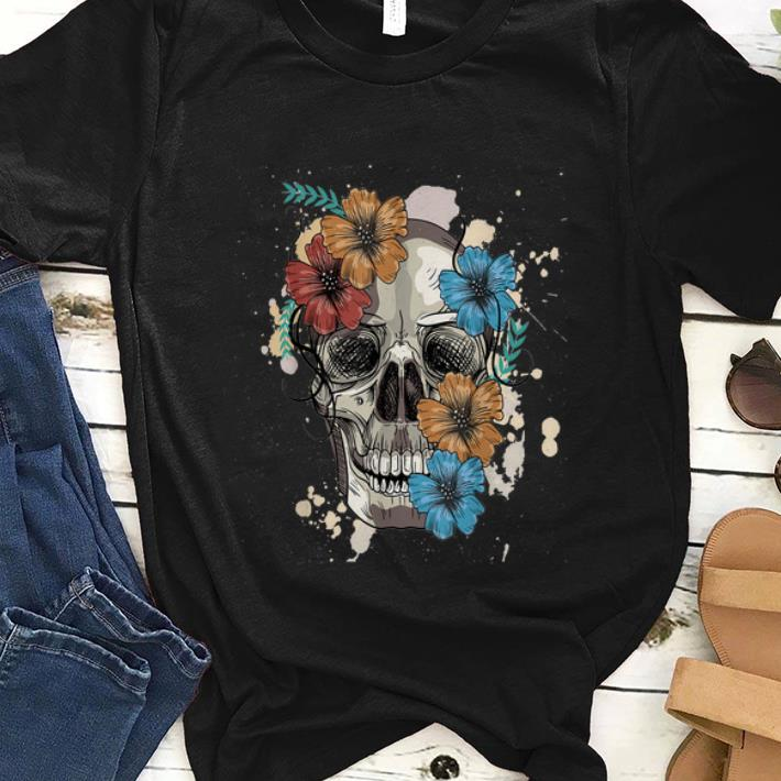 Premim Colorful Skull And Flowers Shirt