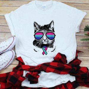 Premium Cat Thyroid Cancer Awareness Sunglass shirt