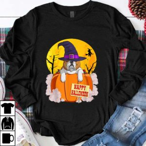 Premium Happy Halloween English Bulldog Pumpkin Witch shirt