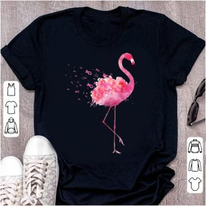 Pretty Pink Ribbon Breast Cancer Awareness Flamingo Flower shirt
