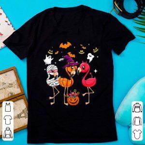 Top Flamingo Happy Halloween Flamingo Witch Hat shirt