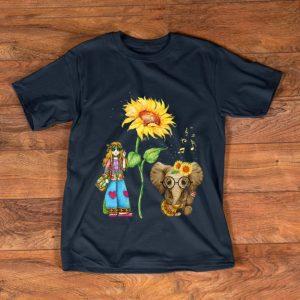 Top Hippie Girl Sunflower Elephant Guitar shirt