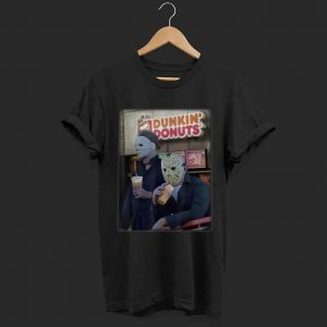 Awesome Leatherface And Jason Drinking Dunkin' Donuts Halloween shirt