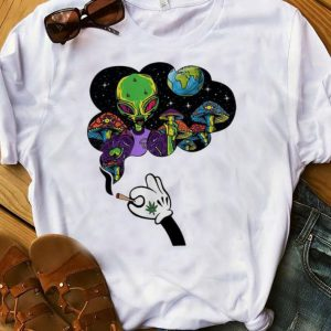 Awesome Mickey Mouse Smoke Weed Alien And Mushroom shirt