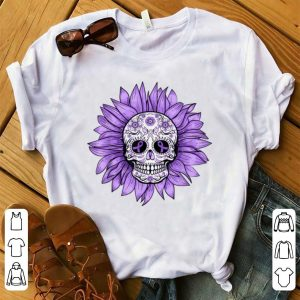 Awesome Sugar Skull Sunflower Purple Ribbon Epilepsy Awareness shirt
