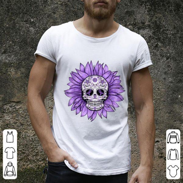 Awesome Sugar Skull Sunflower Purple Ribbon Epilepsy Awareness shirt