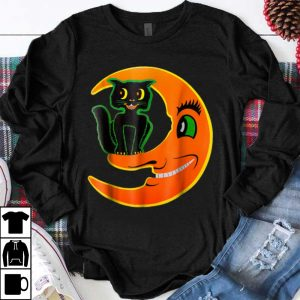 Awesome Vintage Halloween Beistle Cat on the Moon Horror shirt