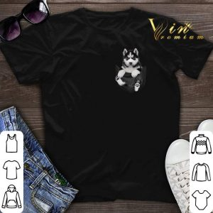 Funny Husky in tiny pocket shirt sweater