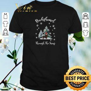 Hot Dachshund through the snow Christmas shirt sweater