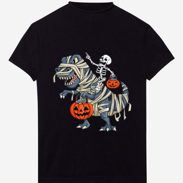 Hot Skeleton Riding T Rex Funny Halloween Boys Girls Kids shirt