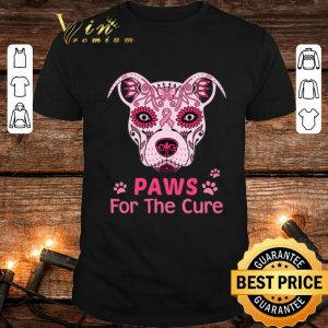 Nice Pitbull Paws For The Cure Breast Cancer Awareness shirt