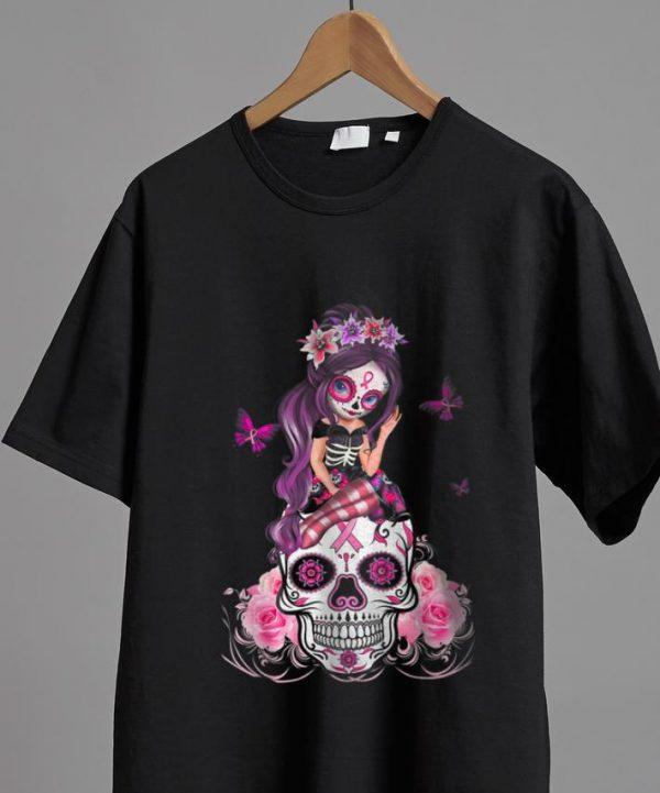 Nice Sugar Skull Pink Ribbon Breast Cancer Awareness Flower Skulls shirt