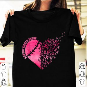 Official Softball Baseball Heart Breast Cancer Nobody Fights Alone shirt