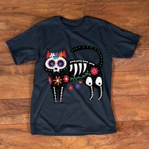 Official Sugar Skull Black Cat Day of Dead Skeleton Calavera Gift Fan shirt