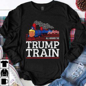 Premium Vintage All Aboard The Trump Train 2020 American Flag shirt