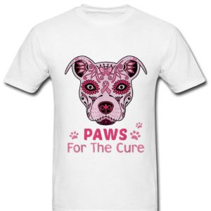 Pretty Pitbull Paws For The Cure Breast Cancer Awareness shirt