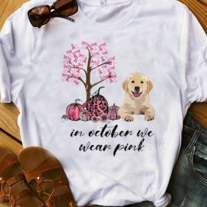 Top In October We Wear Pink Breast Cancer Awareness Dog Lover shirt