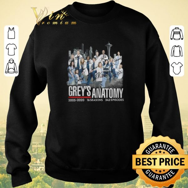 Top Signatures Grey's Anatomy 2005-2020 16 seasons 342 episodes shirt